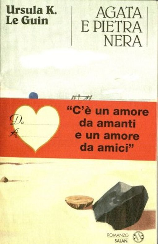 Copertina del libro con l'immagine di una spiaggia, un pezzo di agata e un pezzo di pietra nera