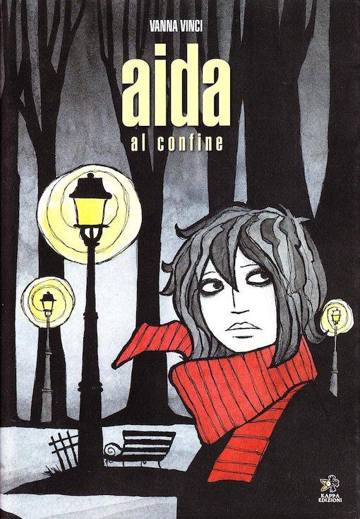 Copertina del fumetto con l'immagine di una ragazza con un foulard rossa in un parco buio