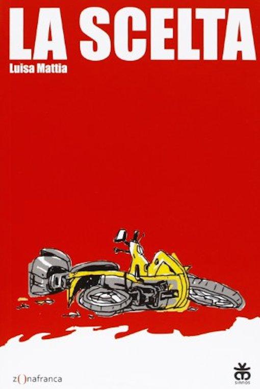 Copertina del libro rossa con l'immagine di un motorino rovesciato per terra