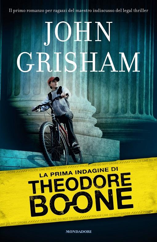 Copertina del libro di un ragazzino in bicicletta di fronte ad un tribunale