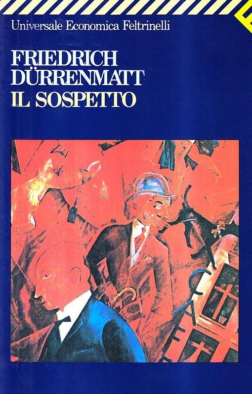 Copertina del libro blu con un'immagine artstta rossa