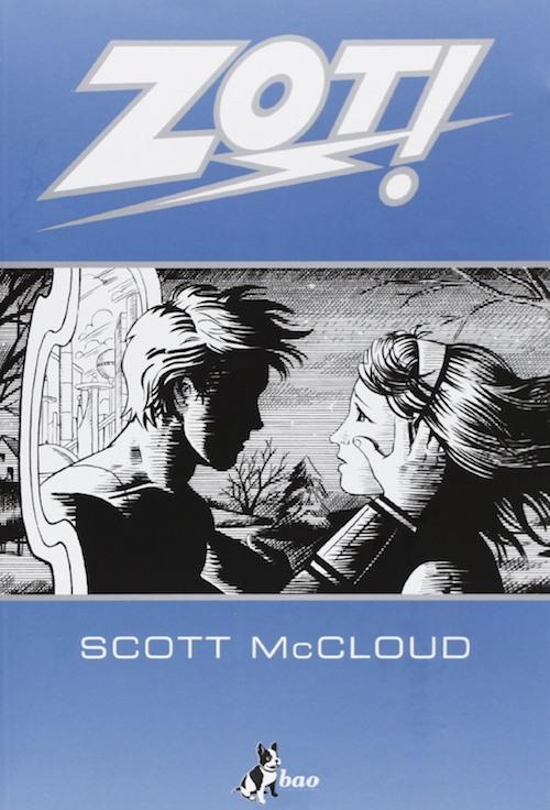 copertina del fumetto in bianco e nero  con un ragazzo e una ragazza