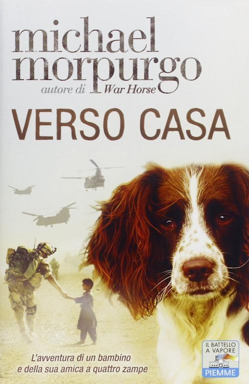 Copertina del libro con l'immagine di un cane in primo piano sullo sfondo un ragazzo e un soldato