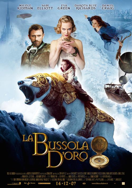 locandina del film con un orso bianco cavalcato da una ragazza e alcuni personaggi fantastici sullo sfondo