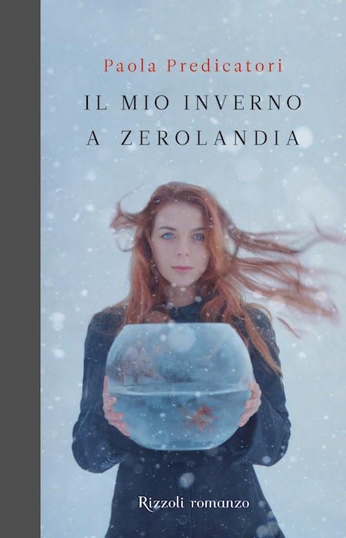 copertina del libro che mostra una ragazza nella neve con in mano una boccia per i pesci rossi