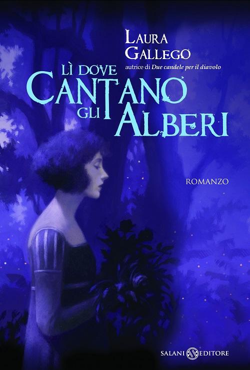 Copertina del libro nei toni del blu con l'immagine di una dama ripresa di profilo con in mano un mazzo di fiori