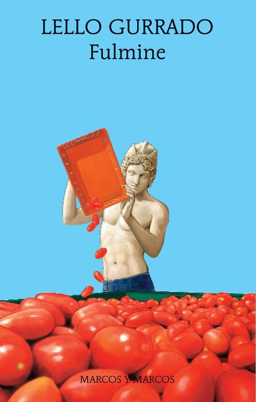 Copertina del libro con l'immagine di un raccoglitore di pomodori impersonificato da una statua classica