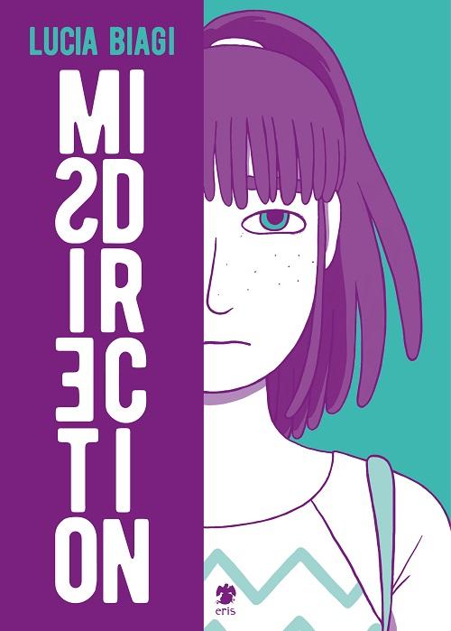 Copertina del libro, volto di una ragazza con capelli viola